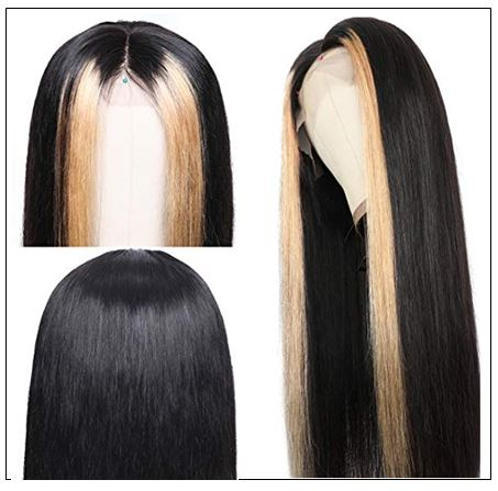 13x4 Lace Front Human Hair Wigs 8-24 Inch Straight Highlight Hair Straight Hair Wig 2-min