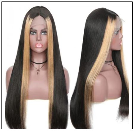 13x4 Lace Front Human Hair Wigs 8-24 Inch Straight Highlight Hair Straight Hair Wig 4-min