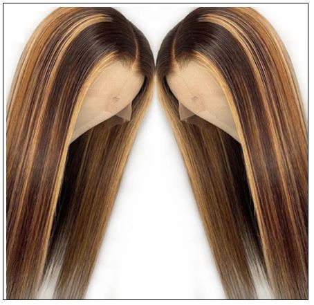 13x4 Straight Honey Blond Ombre Color Highlight 150% Lace Front Human Hair Wigs for Women Invisible Pre Plucked 3