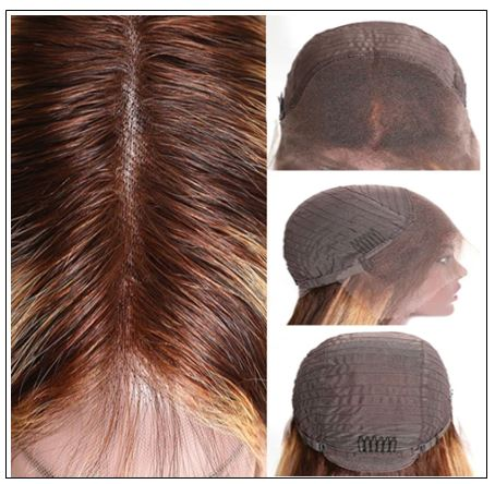13x4 Straight Honey Blond Ombre Color Highlight 150% Lace Front Human Hair Wigs for Women Invisible Pre Plucked 4