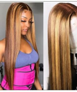 13x4 Straight Honey Blond Ombre Color Highlight 150% Lace Front Human Hair Wigs for Women Invisible Pre Plucked img