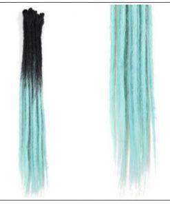 2-14 Black and Light Blue Synthetic Dreadlock Extensions Faux Locs Crochet Hair 2-min