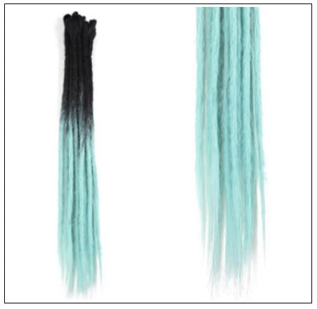 2-14 Black and Light Blue Synthetic Dreadlock Extensions Faux Locs Crochet Hair 2-min