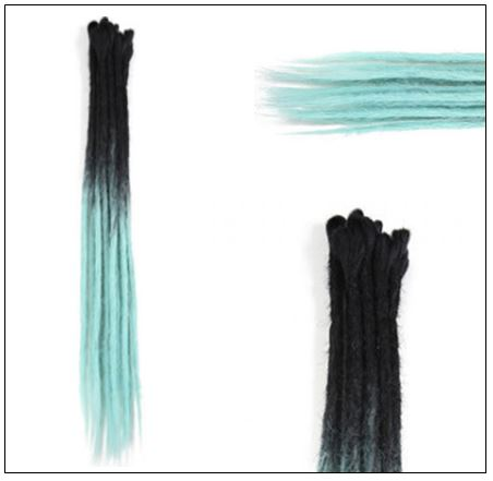 2-14 Black and Light Blue Synthetic Dreadlock Extensions Faux Locs Crochet Hair 3