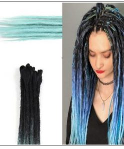2-14 Black and Light Blue Synthetic Dreadlock Extensions Faux Locs Crochet Hair 4