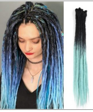 2-14 Black and Light Blue Synthetic Dreadlock Extensions Faux Locs Crochet Hair img-min