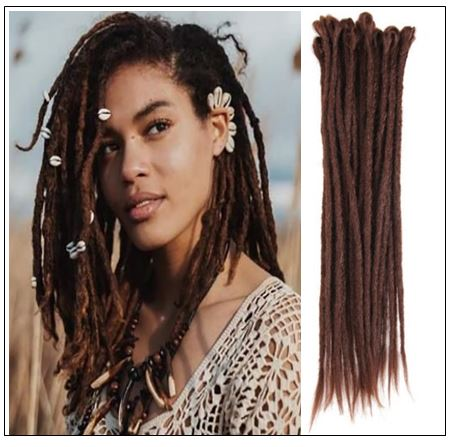 33# Chocolate Color Handmade Synthetic Dreads img-min