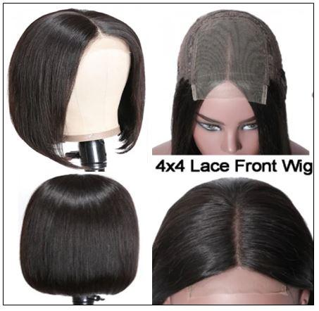 4x4 Lace Closure Wig Natural Black Human Hair Bob Wigs For Sale Affordable Short Human Hair Wigs img 2-min
