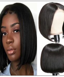 4x4 Lace Closure Wig Natural Black Human Hair Bob Wigs For Sale Affordable Short Human Hair Wigs img-min