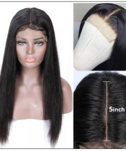 5x5 HD Lace Closure Wigs Virgin Straight Wig Pre Plucked Natural Black Human Hair Wigs for Women img 2-min