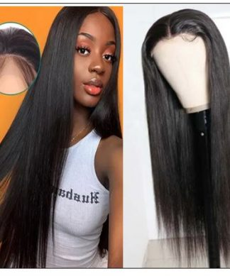 5x5 HD Lace Closure Wigs Virgin Straight Wig Pre Plucked Natural Black Human Hair Wigs for Women img-min