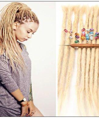 613 Blonde Dreadlock Extensions Human Hair Dreads img-min
