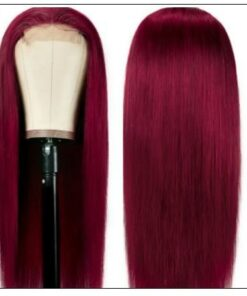 99j Lace Part Human Hair Wigs Burgundy Virgin Straight Hand Tied Hair Line Lace Wig Pre Plucked Colored Wig for Women 150% 2-min