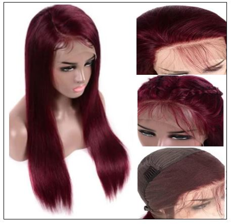 99j Lace Part Human Hair Wigs Burgundy Virgin Straight Hand Tied Hair Line Lace Wig Pre Plucked Colored Wig for Women 150% 3-min