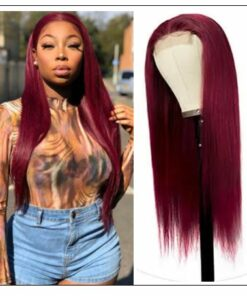 99j Lace Part Human Hair Wigs Burgundy Virgin Straight Hand Tied Hair Line Lace Wig Pre Plucked Colored Wig for Women 150% img-min