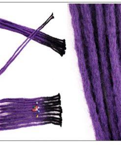Black and Purple 2-12 Crochet Hair Dreadlock Extensions Synthetic Hair 100% Handmade 2