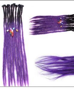 Black and Purple 2-12 Crochet Hair Dreadlock Extensions Synthetic Hair 100% Handmade 3