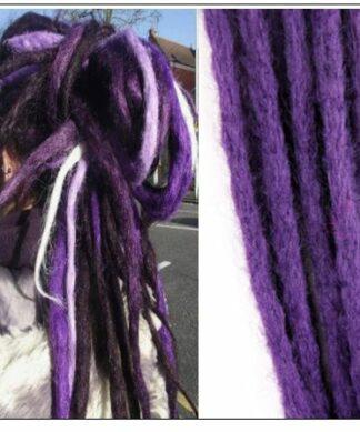 Black and Purple 2-12 Crochet Hair Dreadlock Extensions Synthetic Hair 100% Handmade img