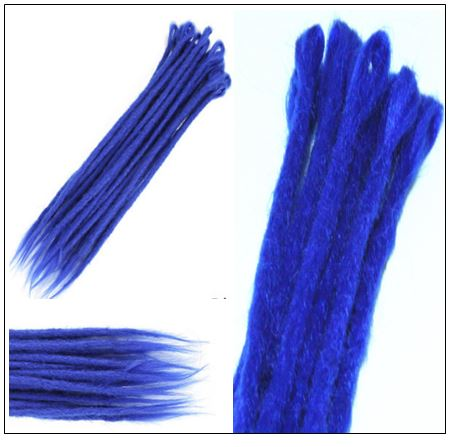 Blue Single Ended Dreadlock Extensions Synthetic Hair Crochet Faux Locs 2