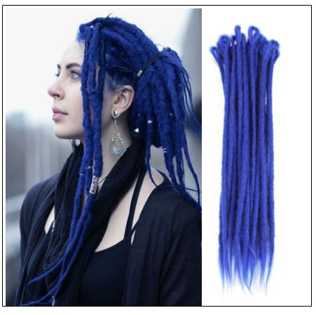 Blue Single Ended Dreadlock Extensions Synthetic Hair Crochet Faux Locs img