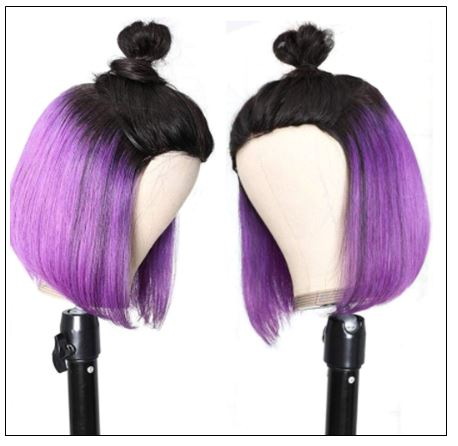 Bob Wig Black Hair Peekaboo Highlights Purple Short Bob Wig Natural Hairline Human Hair Wigs img 3-min
