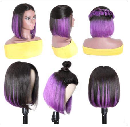 Bob Wig Black Hair Peekaboo Highlights Purple Short Bob Wig Natural Hairline Human Hair Wigs img 4-min