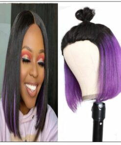 Bob Wig Black Hair Peekaboo Highlights Purple Short Bob Wig Natural Hairline Human Hair Wigs img-min
