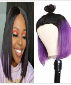 Bob Wig Black Hair Peekaboo Highlights Purple Short Bob Wig Natural Hairline Human Hair Wigs img-min