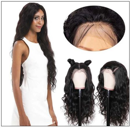 Body Wave Wig Lace Part Wig 150% Density Middle Part With Baby Hair Realistic Human Hair Wigs 2-min