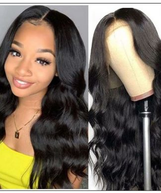 Body Wave Wig Lace Part Wig 150% Density Middle Part With Baby Hair Realistic Human Hair Wigs img-min