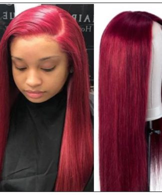 Burgundy Wig Lace Wig Hand Tied Lace Part Wig Pre Plucked Natural Looking Colored Human Hair img-min