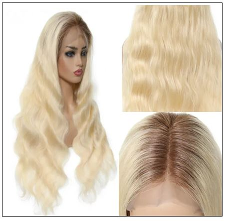 Dark Roots Blonde Pre Plucked 360 Lace Wig img 3-min