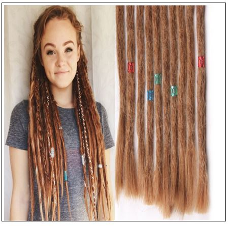 Dreadlock Extensions Human Hair 27 Light Brown Dyed Dreads img