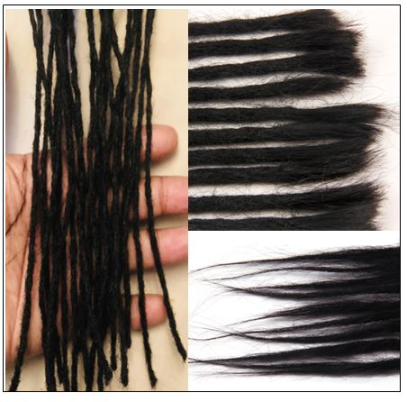 Dreadlock Human Hair Extensions Natural Black 2-min