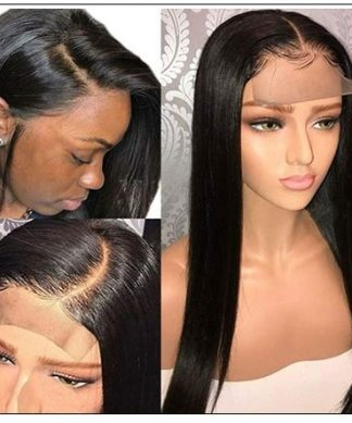 Glueless Wigs With Lace Part 100% Straight Human Hair Lace Wigs With Middle Part , Left part, Right part Natural Color 2-min