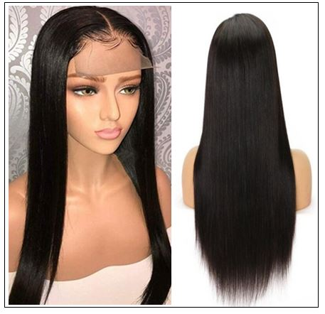 Glueless Wigs With Lace Part 100% Straight Human Hair Lace Wigs With Middle Part , Left part, Right part Natural Color 3-min
