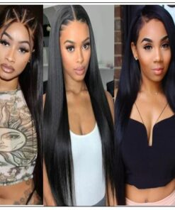 Glueless Wigs With Lace Part 100% Straight Human Hair Lace Wigs With Middle Part , Left part, Right part Natural Color 4-min