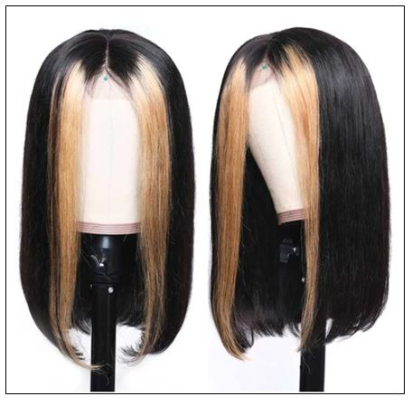 Highlight Ombre TL27 Straight Human Hair Lace Part Wigs 150% Density 2-min