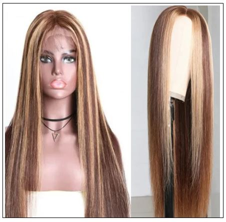 Highlight Straight Human Hair Wigs Honey Blonde Brown PU Silk Base TL412 Wig 150% Density img 2-min