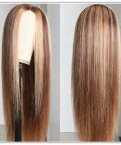 Highlight Straight Human Hair Wigs Honey Blonde Brown PU Silk Base TL412 Wig 150% Density img 3-min