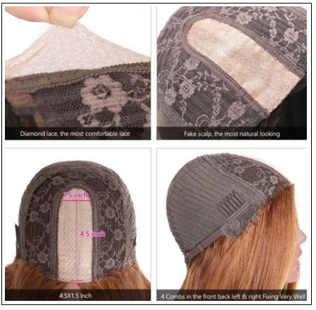 Highlight Straight Human Hair Wigs Honey Blonde Brown PU Silk Base TL412 Wig 150% Density img 4-min