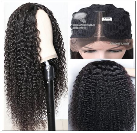 Jerry Curly Wigs Lace Part Wig Middle Part 150% Density Natural Hair Line Glueless Human Hair Wigs 2-min