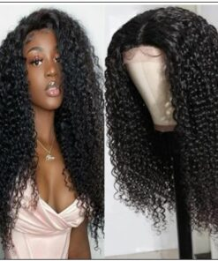 Jerry Curly Wigs Lace Part Wig Middle Part 150% Density Natural Hair Line Glueless Human Hair Wigs img-min
