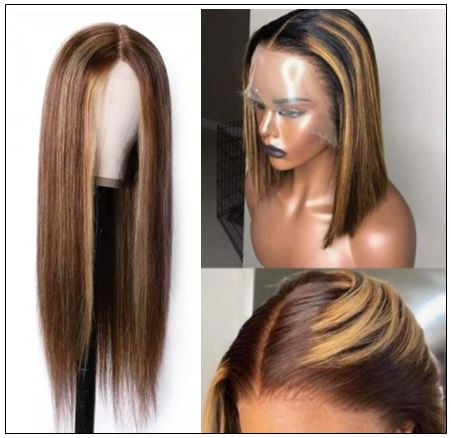 Lace Wig Middle Part Straight Hair Wigs 150% density Blonde Wig Brown Highlight Wig Long Straight img 2-min