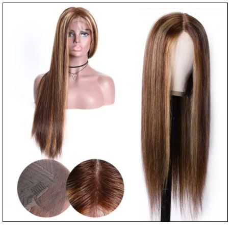 Lace Wig Middle Part Straight Hair Wigs 150% density Blonde Wig Brown Highlight Wig Long Straight img 3-min