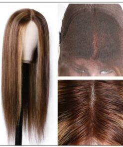 Lace Wig Middle Part Straight Hair Wigs 150% density Blonde Wig Brown Highlight Wig Long Straight img 4-min