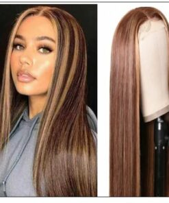 Lace Wig Middle Part Straight Hair Wigs 150% density Blonde Wig Brown Highlight Wig Long Straight img-min