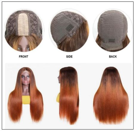 Lace Wig Ombre Brown Wig Mid Part Straight Silk Hand Tied Lace Part Wig Natural HairLine 2-min