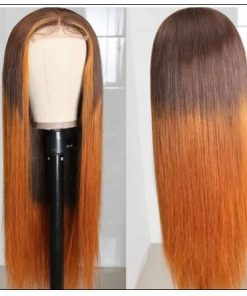 Lace Wig Ombre Brown Wig Mid Part Straight Silk Hand Tied Lace Part Wig Natural HairLine 3-min