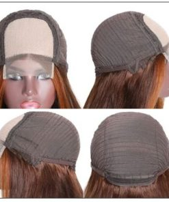 Lace Wig Ombre Brown Wig Mid Part Straight Silk Hand Tied Lace Part Wig Natural HairLine 4-min